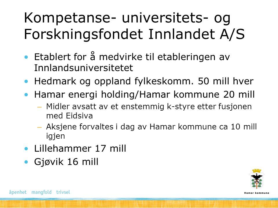 Kompetanse- universitets- og Forskningsfondet Innlandet A/S Etablert for å medvirke til etableringen av Innlandsuniversitetet Hedmark og oppland fylke