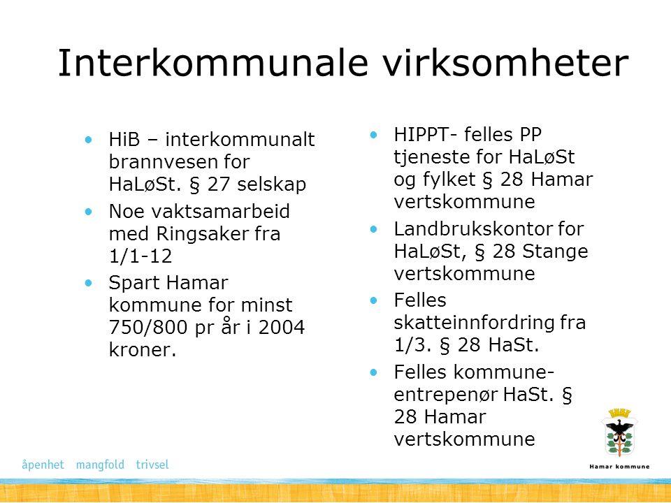 Interkommunale virksomheter HiB – interkommunalt brannvesen for HaLøSt. § 27 selskap Noe vaktsamarbeid med Ringsaker fra 1/1-12 Spart Hamar kommune fo