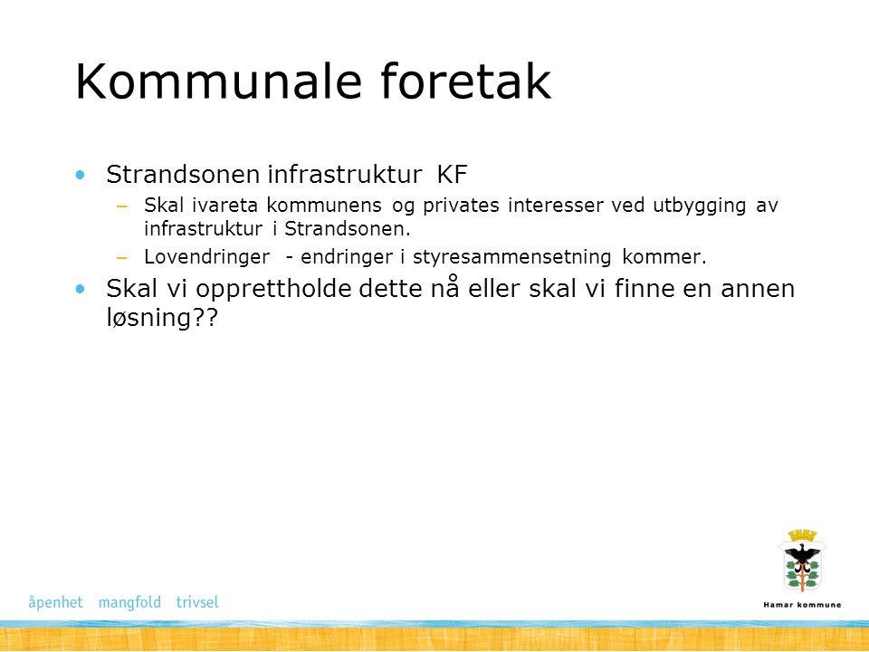 Kommunale foretak Strandsonen infrastruktur KF – Skal ivareta kommunens og privates interesser ved utbygging av infrastruktur i Strandsonen. – Lovendr