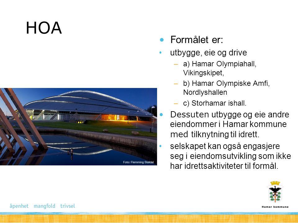 HOA Formålet er: utbygge, eie og drive –a) Hamar Olympiahall, Vikingskipet, –b) Hamar Olympiske Amfi, Nordlyshallen –c) Storhamar ishall. Dessuten utb