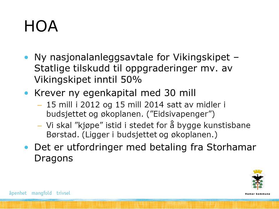HOA Ny nasjonalanleggsavtale for Vikingskipet – Statlige tilskudd til oppgraderinger mv. av Vikingskipet inntil 50% Krever ny egenkapital med 30 mill