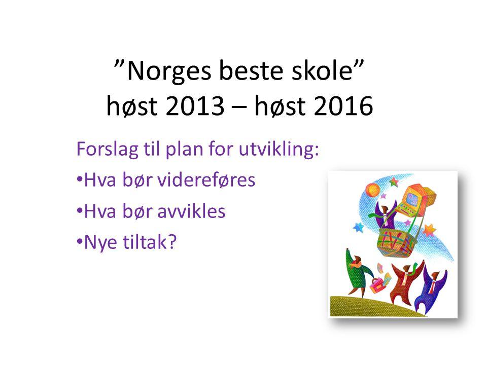 """""""Norges beste skole"""" høst 2013 – høst 2016 Forslag til plan for utvikling: Hva bør videreføres Hva bør avvikles Nye tiltak?"""