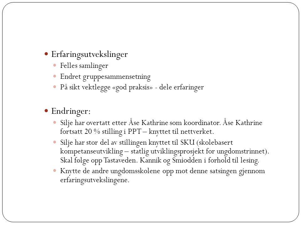 Erfaringsutvekslinger Felles samlinger Endret gruppesammensetning På sikt vektlegge «god praksis» - dele erfaringer Endringer: Silje har overtatt etter Åse Kathrine som koordinator.