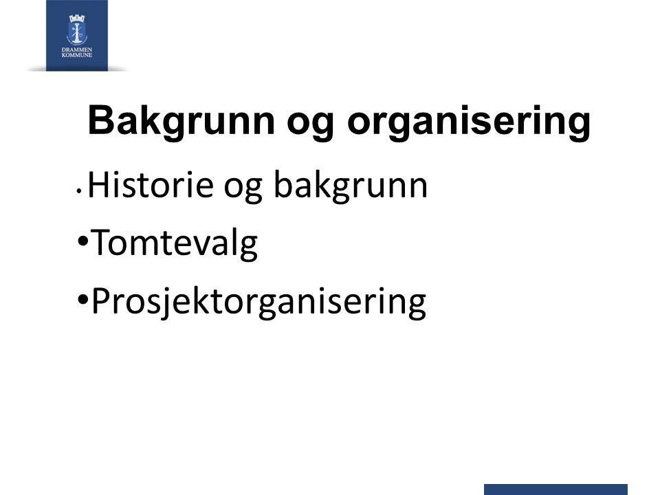 Bakgrunn og organisering Historie og bakgrunn Tomtevalg Prosjektorganisering