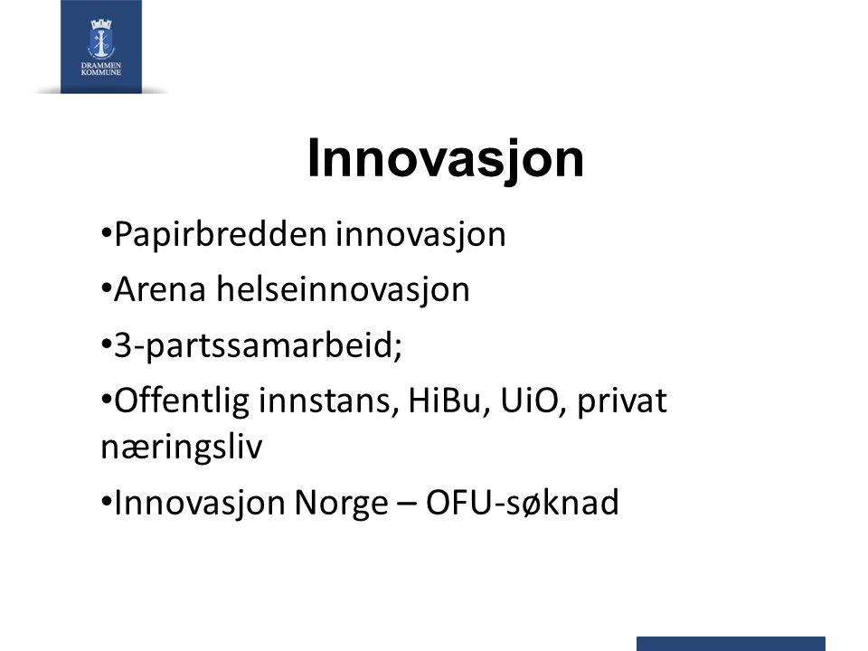 Innovasjon Papirbredden innovasjon Arena helseinnovasjon 3-partssamarbeid; Offentlig innstans, HiBu, UiO, privat næringsliv Innovasjon Norge – OFU-søk