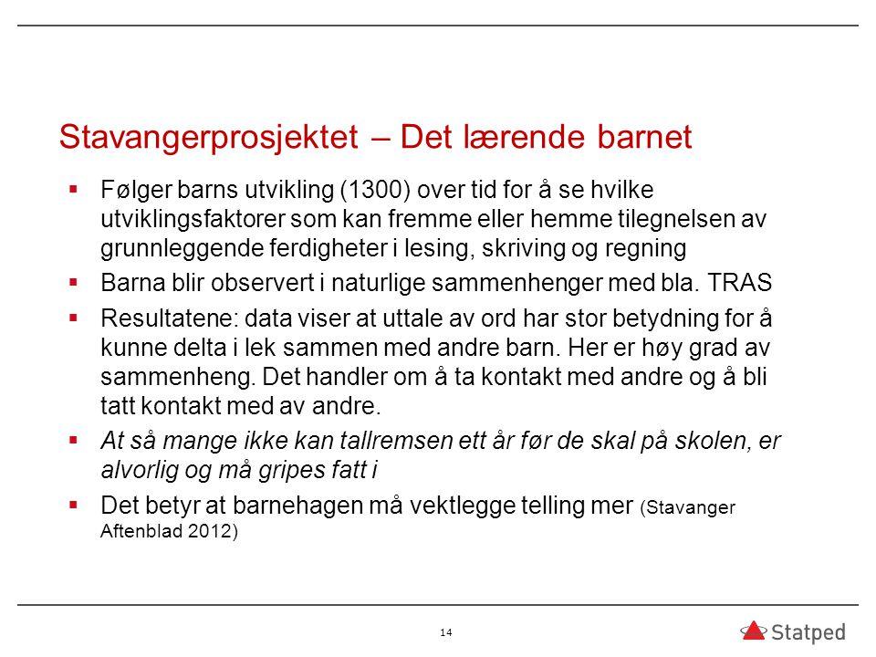 Stavangerprosjektet – Det lærende barnet  Følger barns utvikling (1300) over tid for å se hvilke utviklingsfaktorer som kan fremme eller hemme tilegn