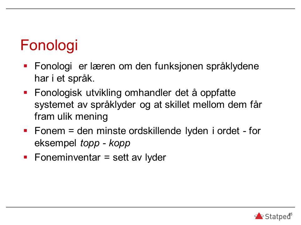  Fonologi er læren om den funksjonen språklydene har i et språk.  Fonologisk utvikling omhandler det å oppfatte systemet av språklyder og at skillet
