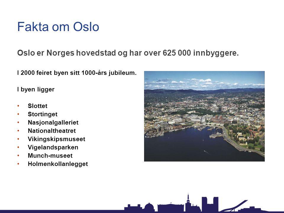 Fakta om Oslo Oslo er Norges hovedstad og har over 625 000 innbyggere. I 2000 feiret byen sitt 1000-års jubileum. I byen ligger Slottet Stortinget Nas