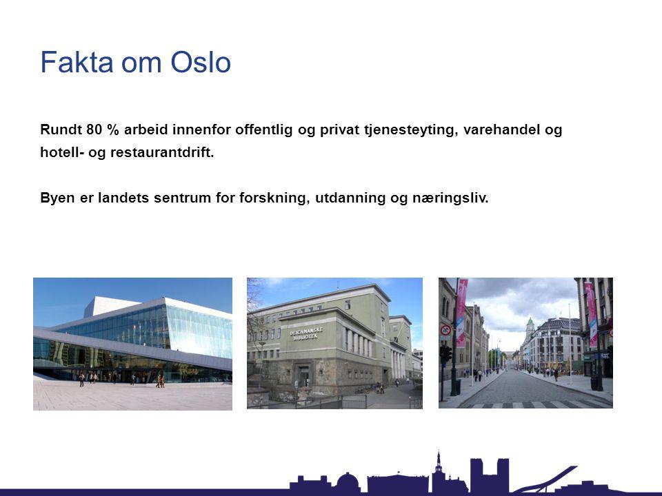 Fakta om Oslo Rundt 80 % arbeid innenfor offentlig og privat tjenesteyting, varehandel og hotell- og restaurantdrift. Byen er landets sentrum for fors