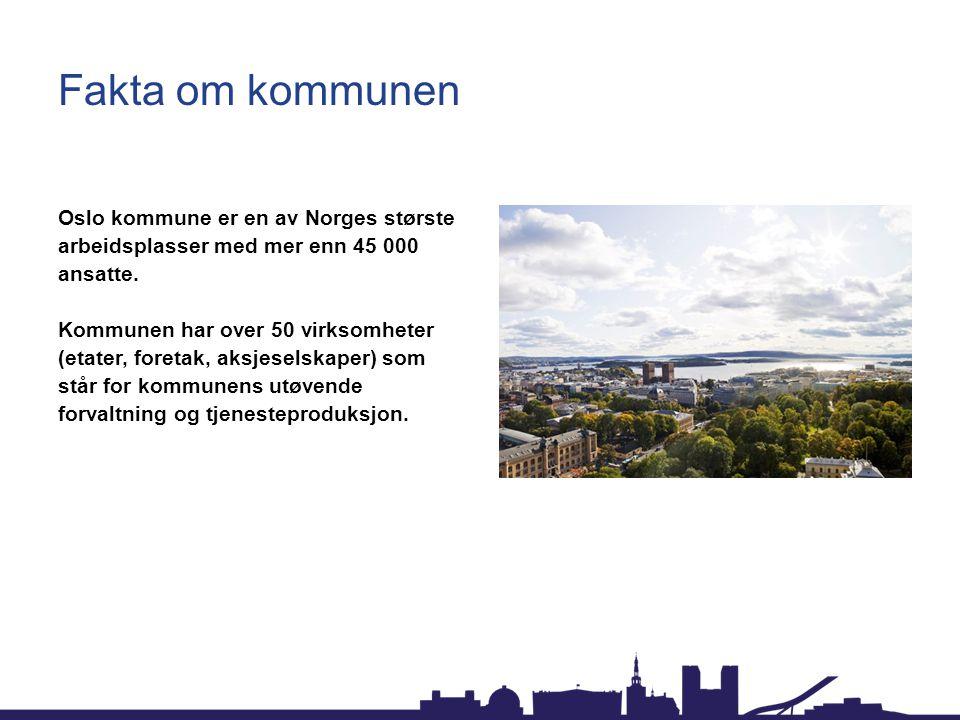Fakta om kommunen Oslo kommune er en av Norges største arbeidsplasser med mer enn 45 000 ansatte. Kommunen har over 50 virksomheter (etater, foretak,