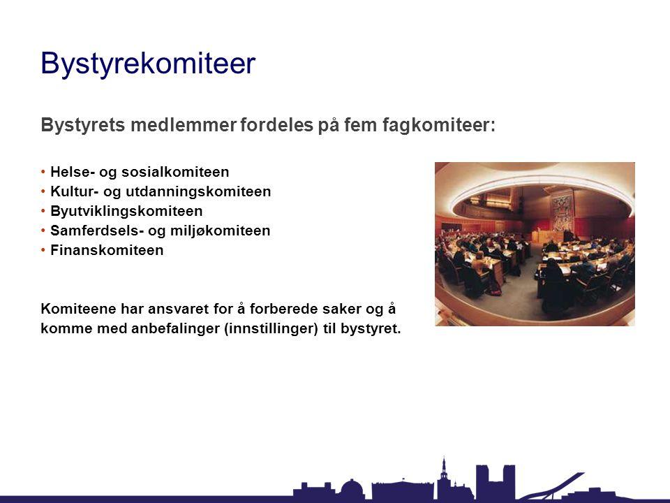 Bystyrekomiteer Bystyrets medlemmer fordeles på fem fagkomiteer: Helse- og sosialkomiteen Kultur- og utdanningskomiteen Byutviklingskomiteen Samferdse