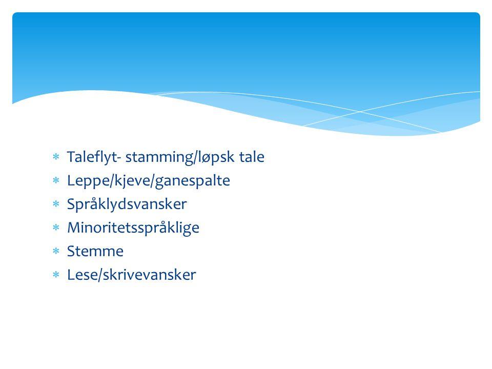  Taleflyt- stamming/løpsk tale  Leppe/kjeve/ganespalte  Språklydsvansker  Minoritetsspråklige  Stemme  Lese/skrivevansker