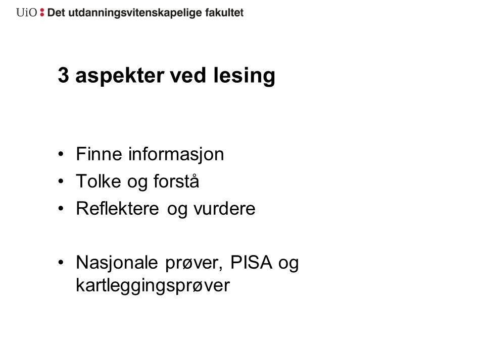 3 aspekter ved lesing Finne informasjon Tolke og forstå Reflektere og vurdere Nasjonale prøver, PISA og kartleggingsprøver