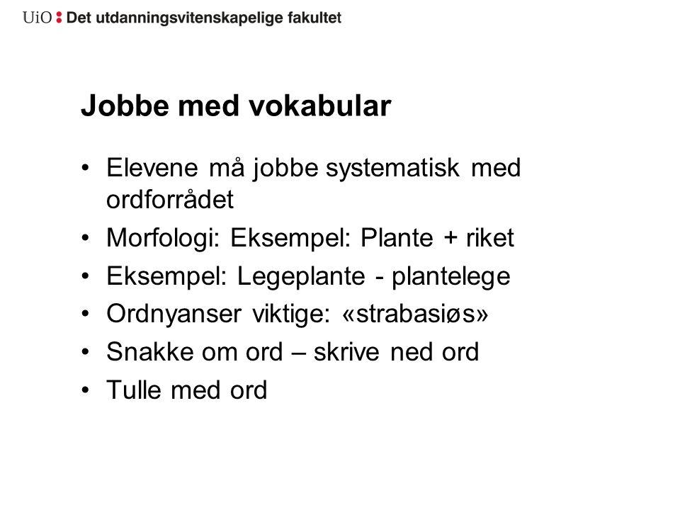 Jobbe med vokabular Elevene må jobbe systematisk med ordforrådet Morfologi: Eksempel: Plante + riket Eksempel: Legeplante - plantelege Ordnyanser vikt