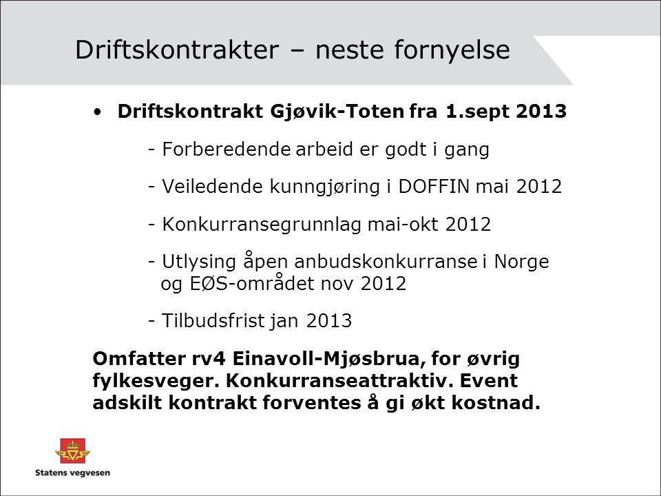 Driftskontrakter – neste fornyelse Driftskontrakt Gjøvik-Toten fra 1.sept 2013 - Forberedende arbeid er godt i gang - Veiledende kunngjøring i DOFFIN mai 2012 - Konkurransegrunnlag mai-okt 2012 - Utlysing åpen anbudskonkurranse i Norge og EØS-området nov 2012 - Tilbudsfrist jan 2013 Omfatter rv4 Einavoll-Mjøsbrua, for øvrig fylkesveger.