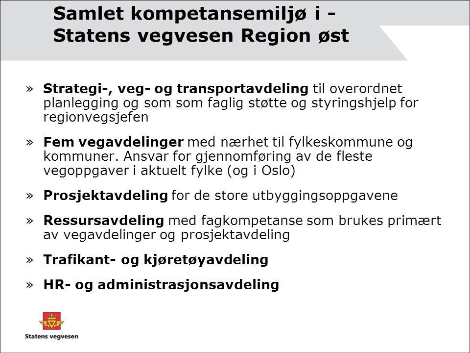 Samlet kompetansemiljø i - Statens vegvesen Region øst »Strategi-, veg- og transportavdeling til overordnet planlegging og som som faglig støtte og styringshjelp for regionvegsjefen »Fem vegavdelinger med nærhet til fylkeskommune og kommuner.