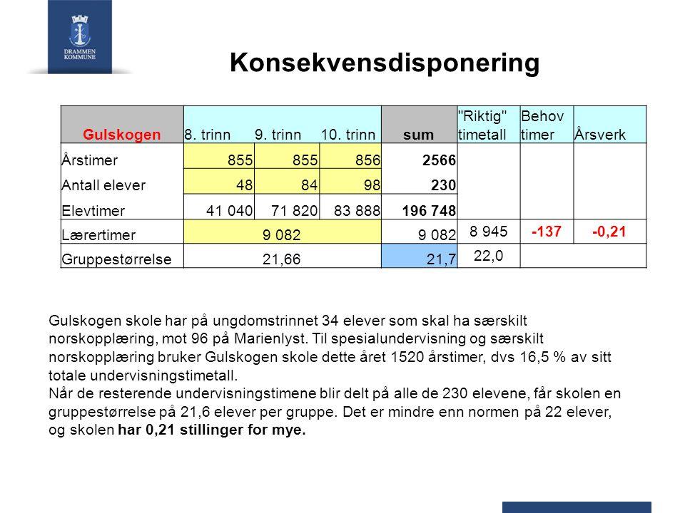 Konsekvensdisponering Gulskogen8. trinn9. trinn10. trinnsum