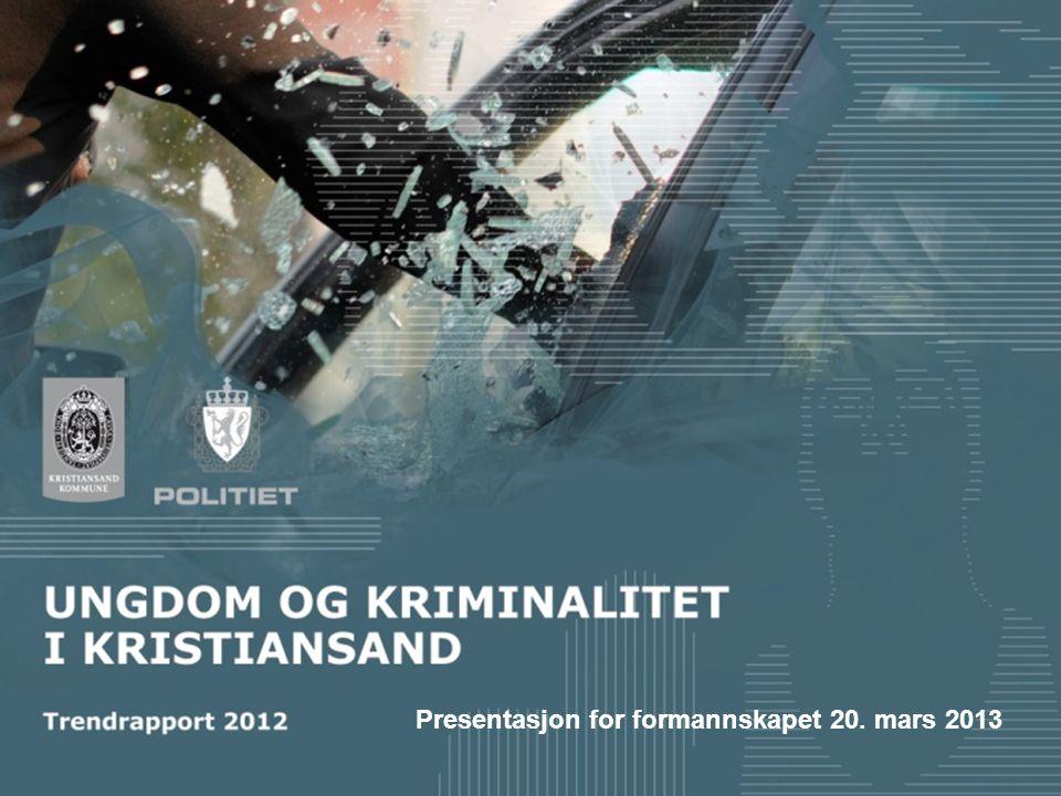 Ungdom og kriminalitet i Kristiansand Unge gjengangere Få ungdom registrert for mange forhold Flere ungdom registrert for få forhold