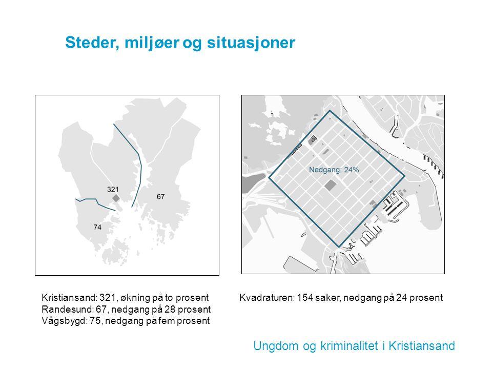 Ungdom og kriminalitet i Kristiansand Steder, miljøer og situasjoner Kristiansand: 321, økning på to prosent Randesund: 67, nedgang på 28 prosent Vågs