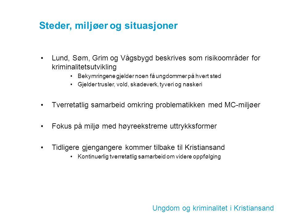Ungdom og kriminalitet i Kristiansand Steder, miljøer og situasjoner Lund, Søm, Grim og Vågsbygd beskrives som risikoområder for kriminalitetsutviklin