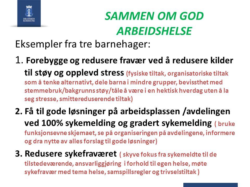 SAMMEN OM GOD ARBEIDSHELSE Eksempler fra tre barnehager: 1. Forebygge og redusere fravær ved å redusere kilder til støy og opplevd stress (fysiske til