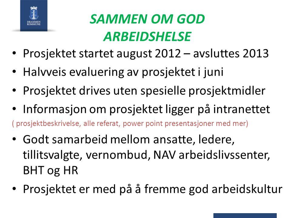 SAMMEN OM GOD ARBEIDSHELSE Prosjektet startet august 2012 – avsluttes 2013 Halvveis evaluering av prosjektet i juni Prosjektet drives uten spesielle p