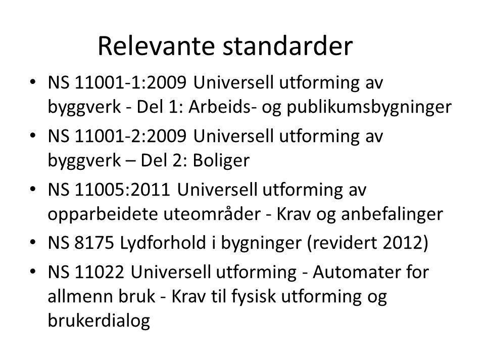 Relevante standarder NS 11001-1:2009 Universell utforming av byggverk - Del 1: Arbeids- og publikumsbygninger NS 11001-2:2009 Universell utforming av