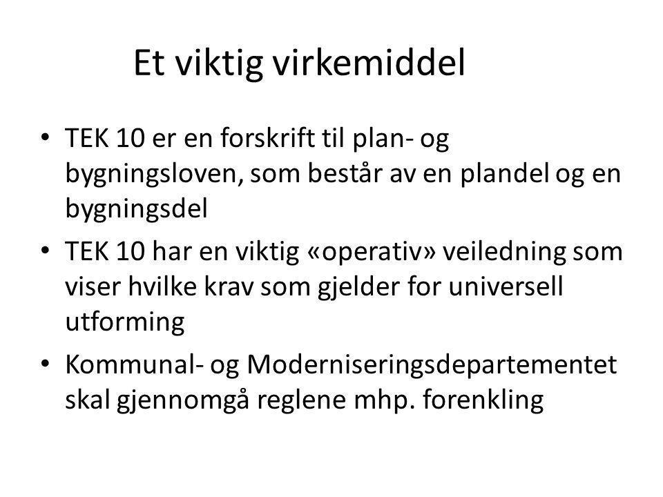 Et viktig virkemiddel TEK 10 er en forskrift til plan- og bygningsloven, som består av en plandel og en bygningsdel TEK 10 har en viktig «operativ» ve