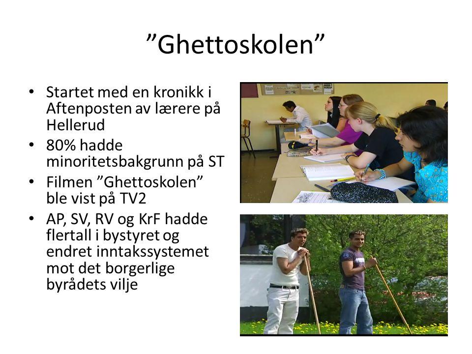 """""""Ghettoskolen"""" Startet med en kronikk i Aftenposten av lærere på Hellerud 80% hadde minoritetsbakgrunn på ST Filmen """"Ghettoskolen"""" ble vist på TV2 AP,"""