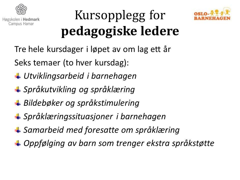 Kursopplegg for pedagogiske ledere Tre hele kursdager i løpet av om lag ett år Seks temaer (to hver kursdag): Utviklingsarbeid i barnehagen Språkutvik