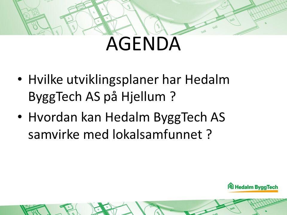 AGENDA Hvilke utviklingsplaner har Hedalm ByggTech AS på Hjellum ? Hvordan kan Hedalm ByggTech AS samvirke med lokalsamfunnet ?