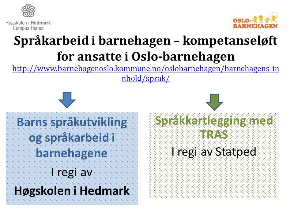 Språkarbeid i barnehagen – kompetanseløft for ansatte i Oslo-barnehagen http://www.barnehager.oslo.kommune.no/oslobarnehagen/barnehagens_in nhold/spra