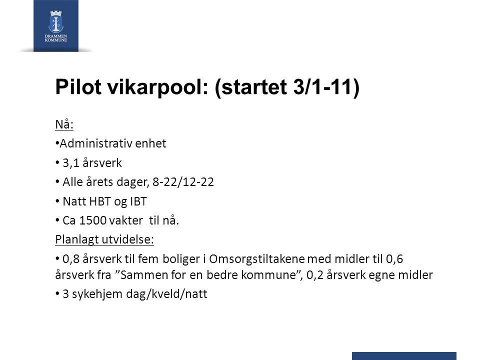 Pilot vikarpool: (startet 3/1-11) Nå: Administrativ enhet 3,1 årsverk Alle årets dager, 8-22/12-22 Natt HBT og IBT Ca 1500 vakter til nå. Planlagt utv