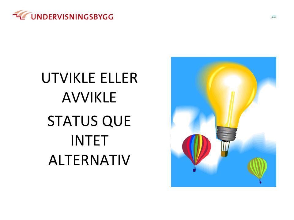UTVIKLE ELLER AVVIKLE STATUS QUE INTET ALTERNATIV 20