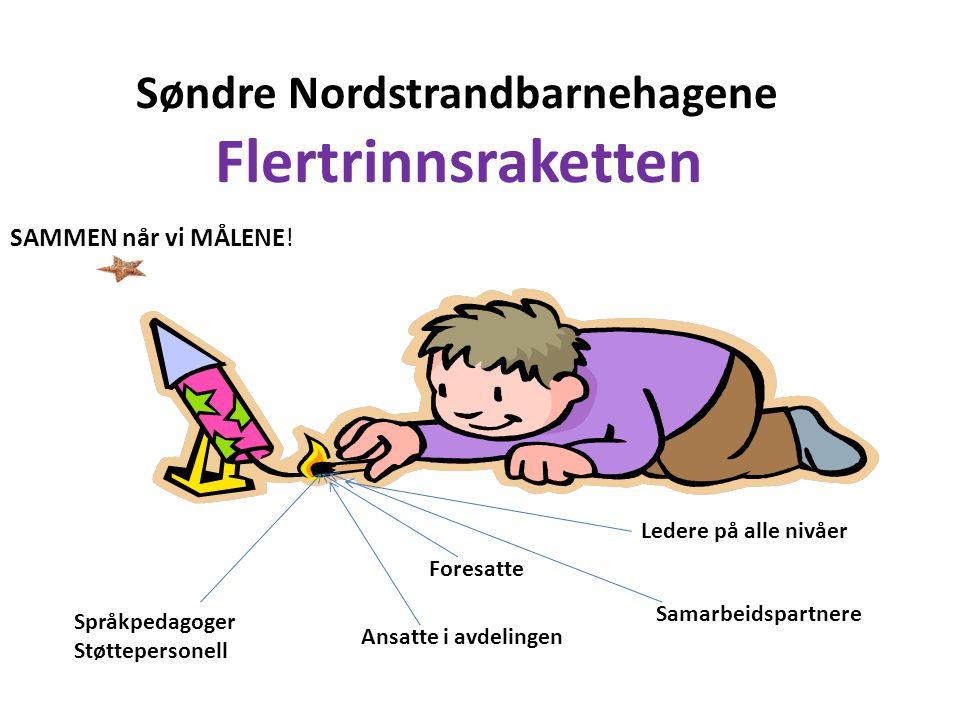 Søndre Nordstrandbarnehagene Flertrinnsraketten SAMMEN når vi MÅLENE! Foresatte Ansatte i avdelingen Språkpedagoger Støttepersonell Ledere på alle niv