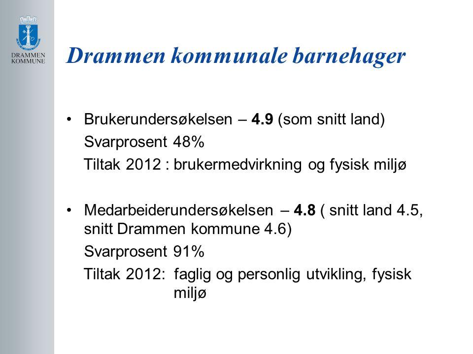 Drammen kommunale barnehager Brukerundersøkelsen – 4.9 (som snitt land) Svarprosent 48% Tiltak 2012 : brukermedvirkning og fysisk miljø Medarbeiderund
