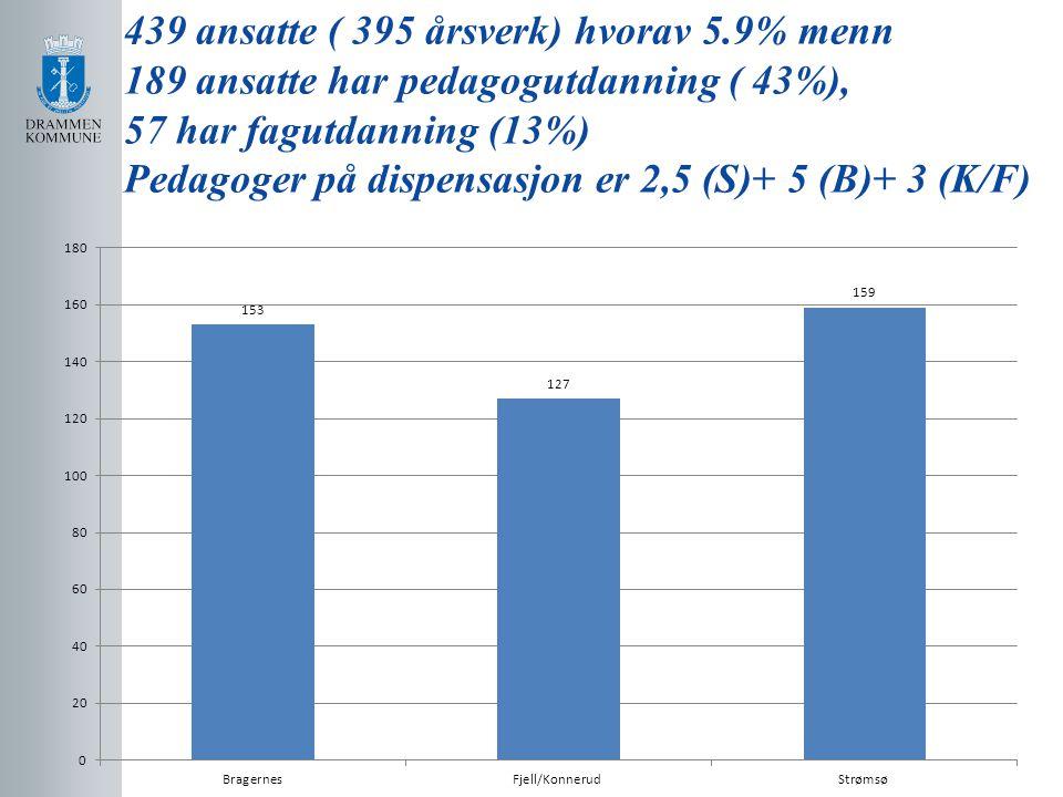 439 ansatte ( 395 årsverk) hvorav 5.9% menn 189 ansatte har pedagogutdanning ( 43%), 57 har fagutdanning (13%) Pedagoger på dispensasjon er 2,5 (S)+ 5
