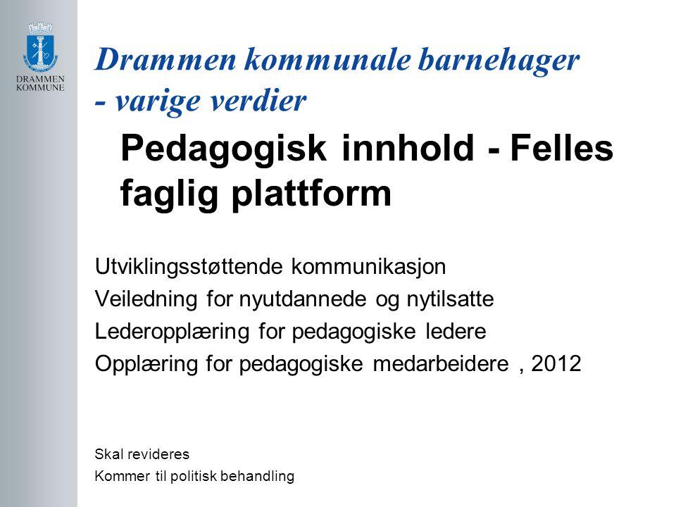 Drammen kommunale barnehager - varige verdier Pedagogisk innhold - Felles faglig plattform Utviklingsstøttende kommunikasjon Veiledning for nyutdanned