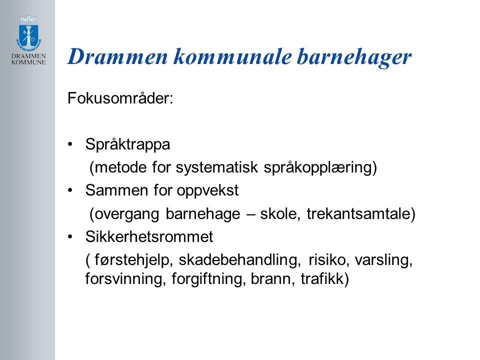 Drammen kommunale barnehager Fokusområder: Språktrappa (metode for systematisk språkopplæring) Sammen for oppvekst (overgang barnehage – skole, trekan
