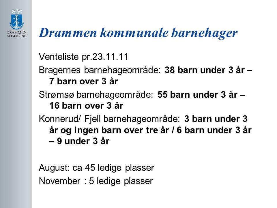 Drammen kommunale barnehager Venteliste pr.23.11.11 Bragernes barnehageområde: 38 barn under 3 år – 7 barn over 3 år Strømsø barnehageområde: 55 barn