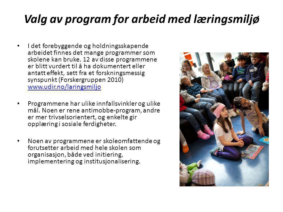 Valg av ett felles læringsmiljøprogram for Drammensskolen Skoleeier i Drammen ønsker å gi opplæring og driftshjelp til ett program for alle skolene.