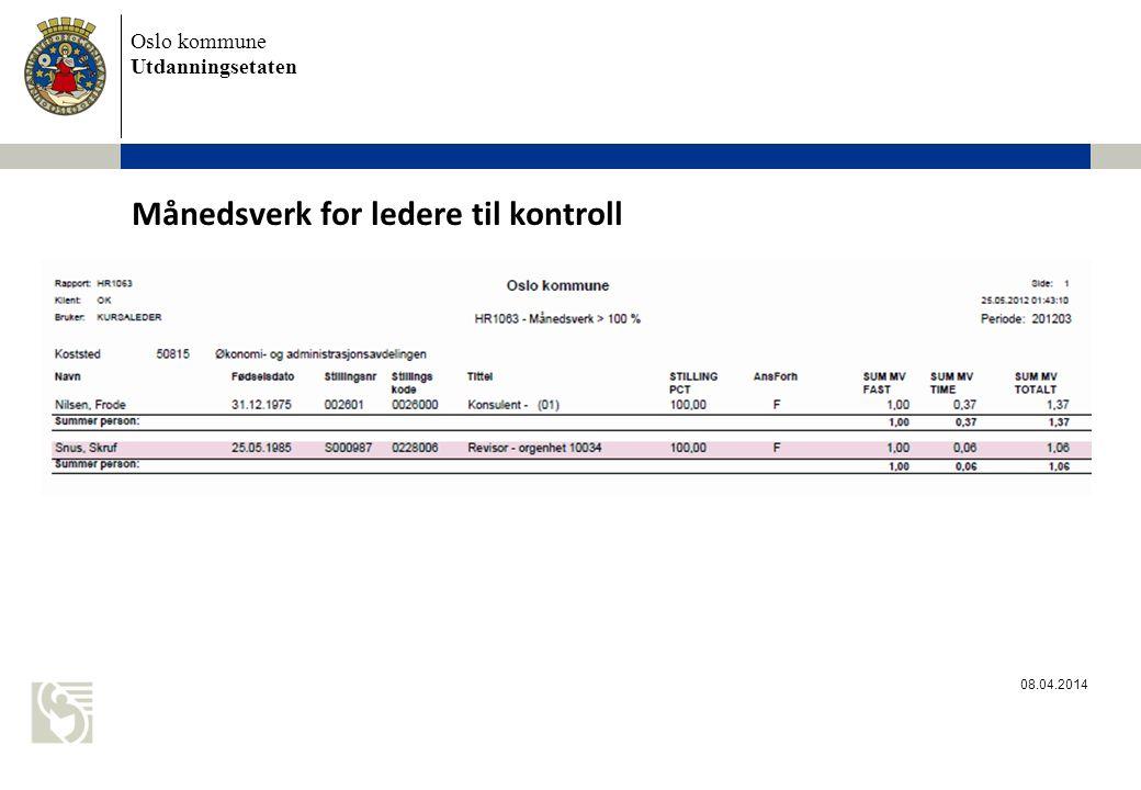 Oslo kommune Utdanningsetaten Månedsverk for ledere til kontroll 08.04.2014