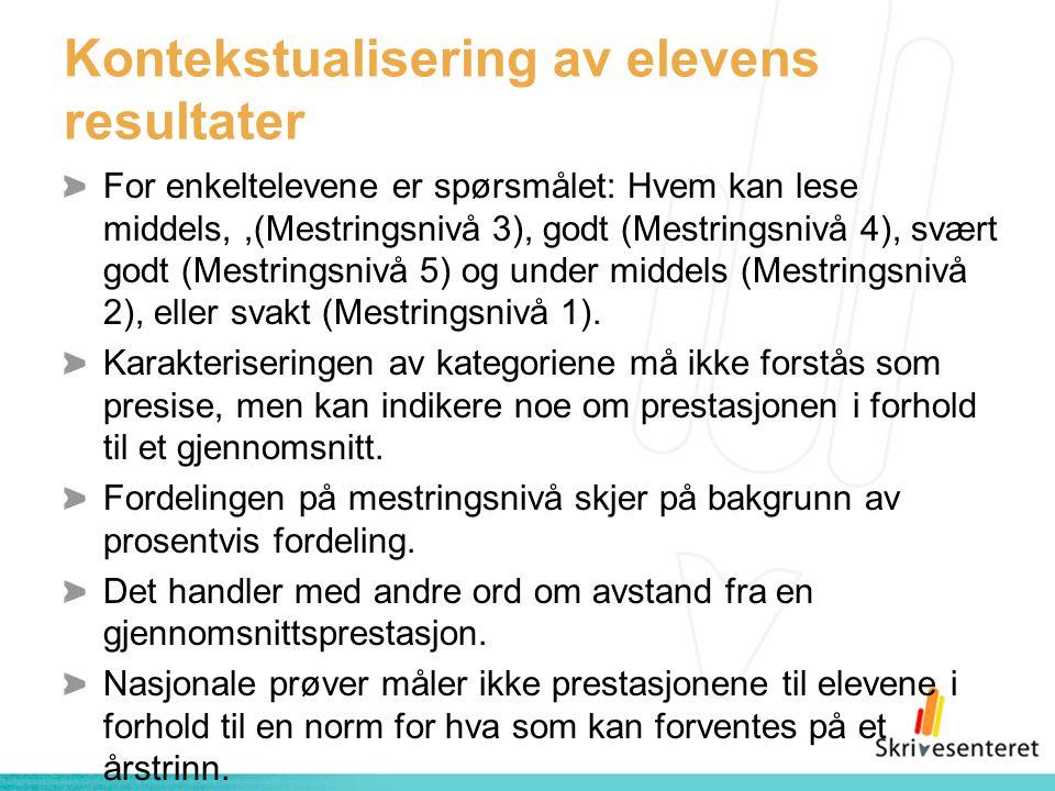 Kontekstualisering av elevens resultater For enkeltelevene er spørsmålet: Hvem kan lese middels,,(Mestringsnivå 3), godt (Mestringsnivå 4), svært godt (Mestringsnivå 5) og under middels (Mestringsnivå 2), eller svakt (Mestringsnivå 1).