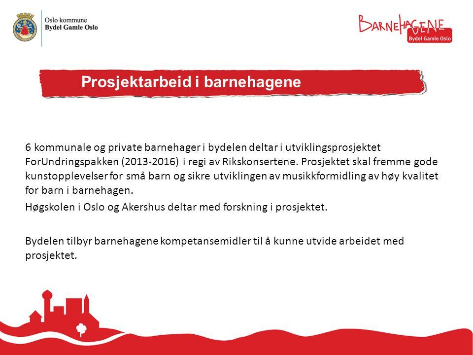 6 kommunale og private barnehager i bydelen deltar i utviklingsprosjektet ForUndringspakken (2013-2016) i regi av Rikskonsertene.