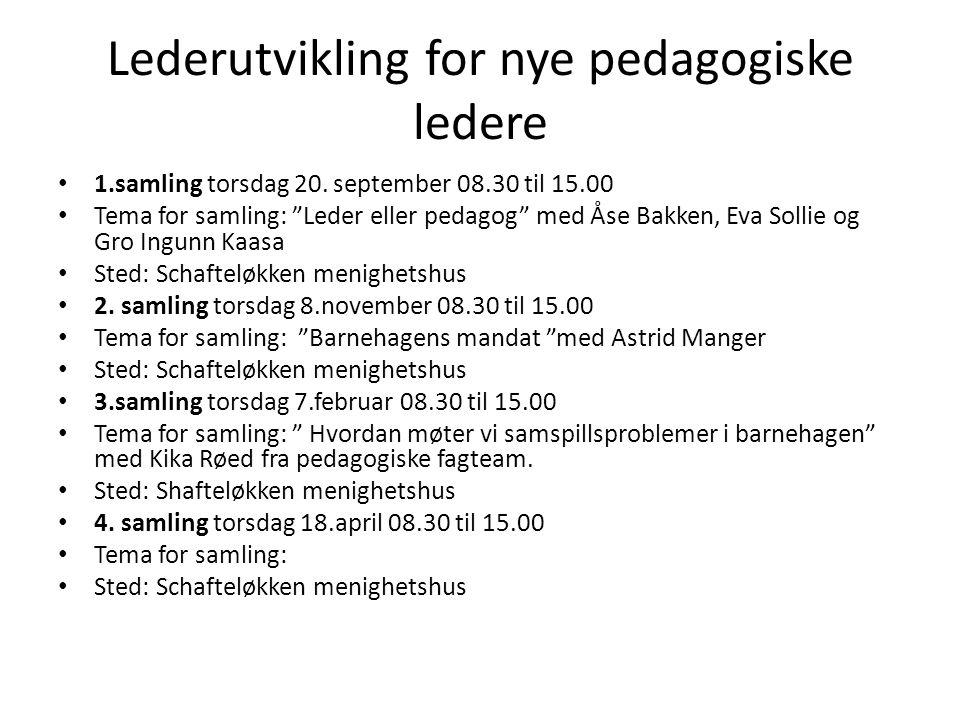 """Lederutvikling for nye pedagogiske ledere 1.samling torsdag 20. september 08.30 til 15.00 Tema for samling: """"Leder eller pedagog"""" med Åse Bakken, Eva"""