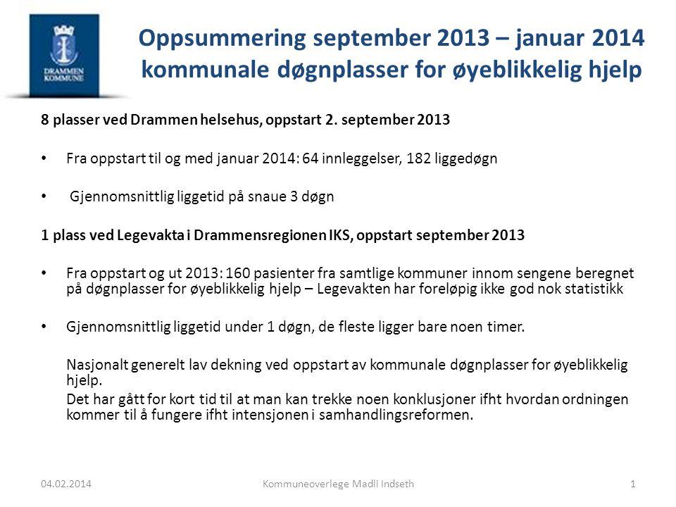 Oppsummering september 2013 – januar 2014 kommunale døgnplasser for øyeblikkelig hjelp 8 plasser ved Drammen helsehus, oppstart 2. september 2013 Fra