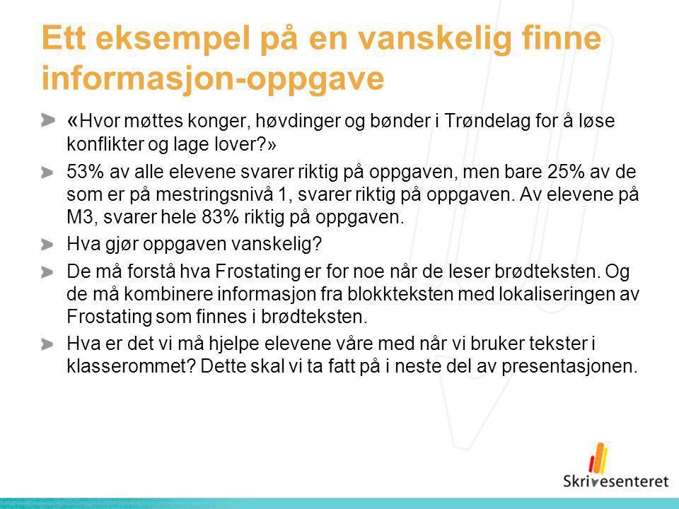 Ett eksempel på en vanskelig finne informasjon-oppgave « Hvor møttes konger, høvdinger og bønder i Trøndelag for å løse konflikter og lage lover?» 53%