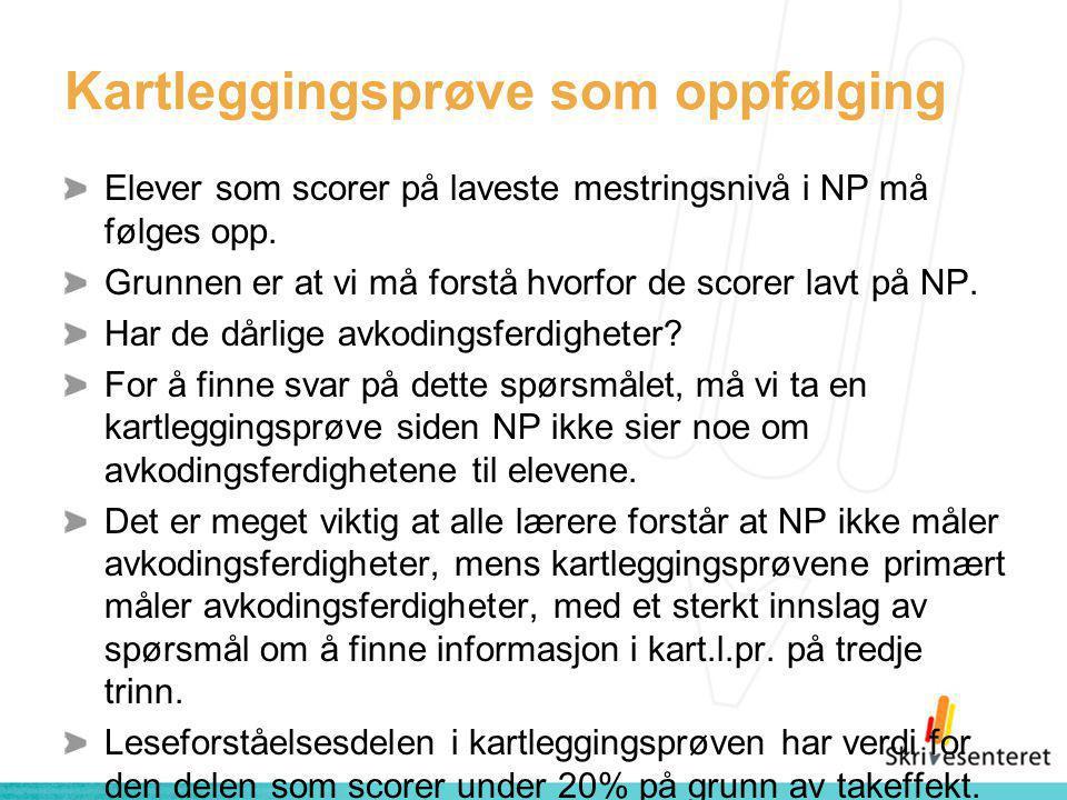Kartleggingsprøve som oppfølging Elever som scorer på laveste mestringsnivå i NP må følges opp.