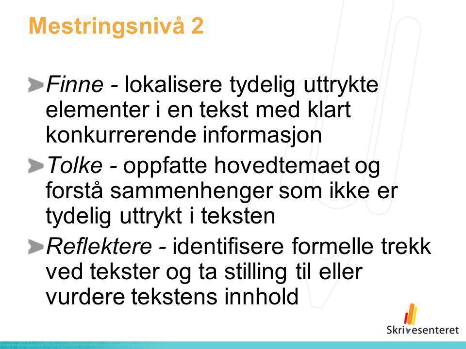 Mestringsnivå 2 Finne - lokalisere tydelig uttrykte elementer i en tekst med klart konkurrerende informasjon Tolke - oppfatte hovedtemaet og forstå sa