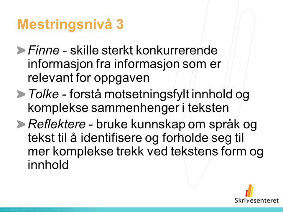 Mestringsnivå 3 Finne - skille sterkt konkurrerende informasjon fra informasjon som er relevant for oppgaven Tolke - forstå motsetningsfylt innhold og